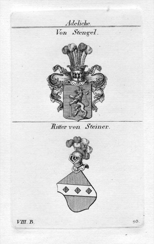 Stengel / Steiner - Wappen Adel coat of arms heraldry Heraldik Kupferstich