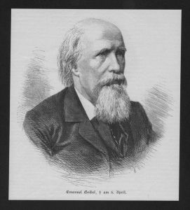 Franz Emanuel August Geibel Lyriker wood engraving Holzstich Portrait