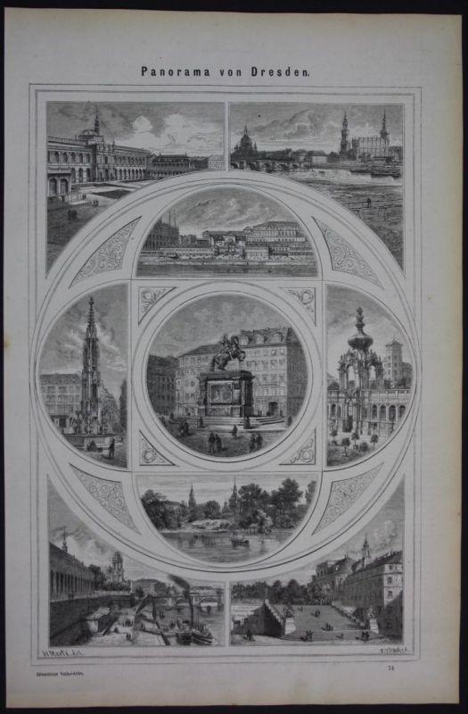Dresden Panorama Ansichten Holzschnitt antique print