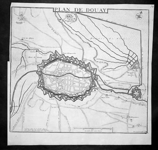 Douai Nord-Pas-de-Calais Gravure Kupferstich engraving