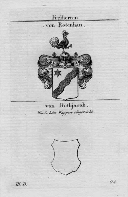 Rotenhan Rothjacob Wappen Adel coat of arms heraldry Kupferstich