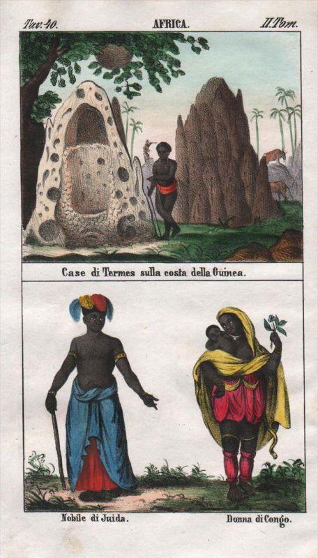 - Guinea Congo Kongo Quidah Benin Africa costume Lithograph