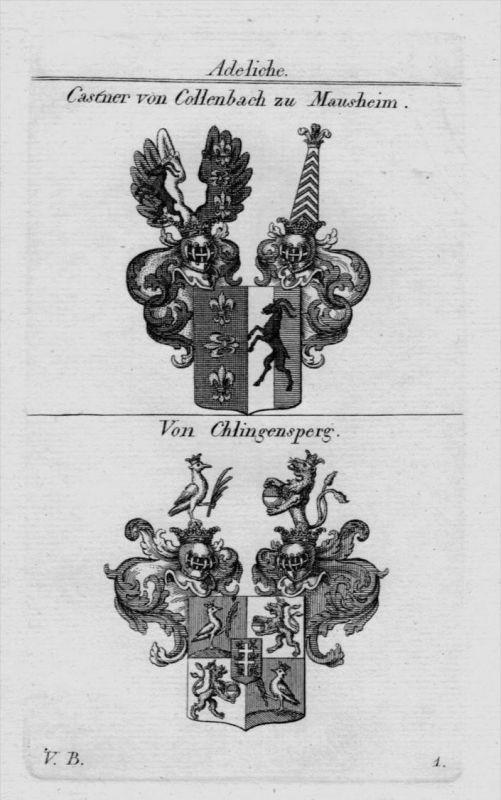 Castner Collenbach Chlingensperg Wappen coat of arms heraldry Kupferstich