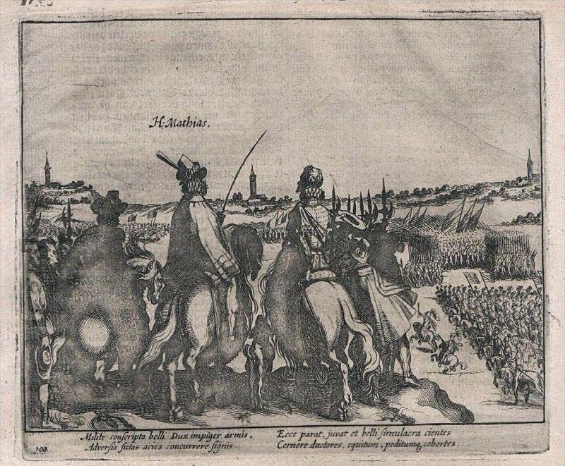 . Militaria Ritter Reiter Schlacht Battle Kupferstich engraving