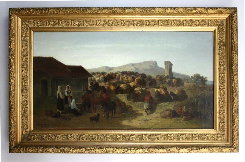 Rast einer Maultierkarawane in Dalmatien. - original Ölgemälde auf Leinwand. -- ca. 30 x 58 cm -- doubliert - links unte 0