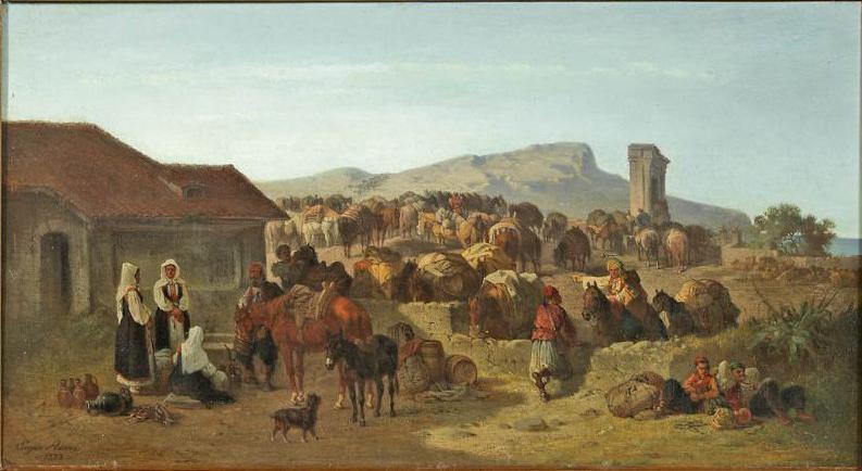 Rast einer Maultierkarawane in Dalmatien. - original Ölgemälde auf Leinwand. -- ca. 30 x 58 cm -- doubliert - links unte 1