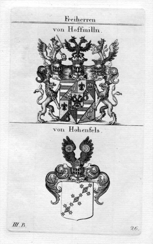 von Hoffmilln / von Hohenfels / Bayern - Wappen coat of arms Heraldik heraldry Kupferstich