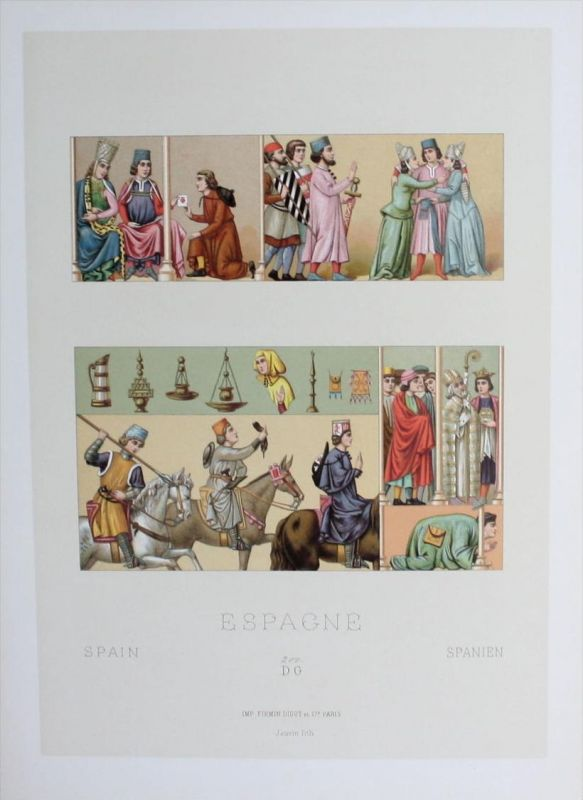Spanien Espana Spain Tracht costumes Trachten Lithographie lithograph