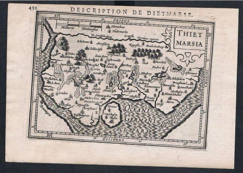 Dithmarschen Schleswig-Holstein map Karte Hondius Kupferstich