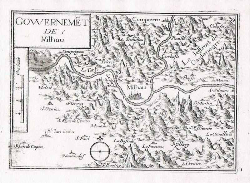 Millau Midi-Pyrenees Aveyron France gravure Original Kupferstich Tassin