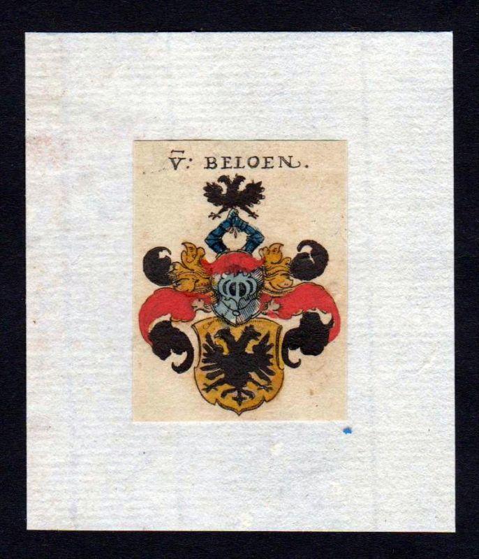 Beloen 17. Jh Wappen coat of arms heraldry Heraldik Kupferstich