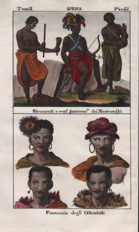 - South Africa Khoikhoi Congo Kongo people costume Lithograph