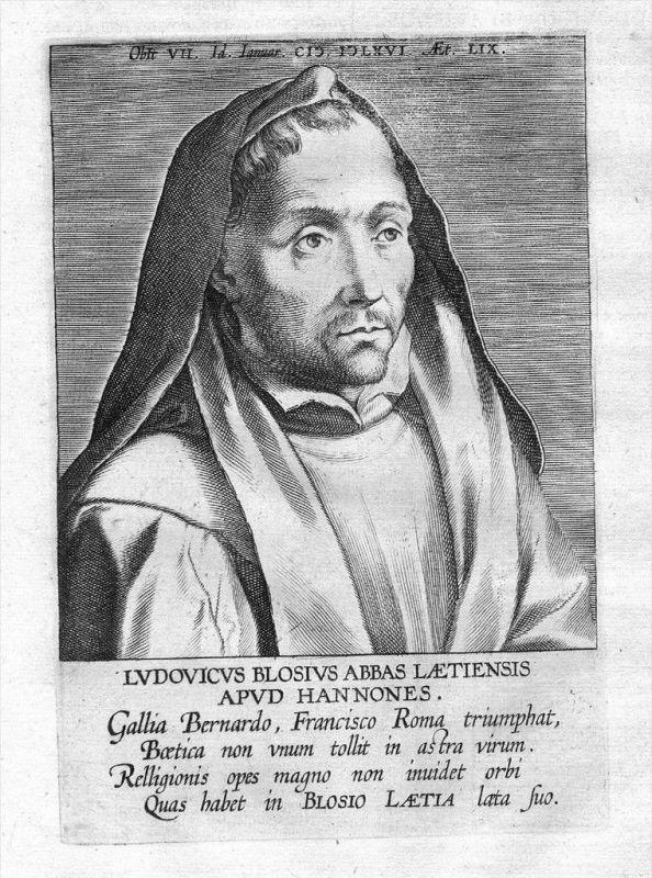 Louis de Blois Benediktiner poet  Portrait Kupferstich gravure