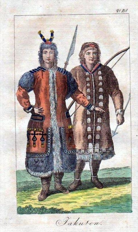 Jakuren Paar Ehepaar Tracht Trachten costumes Original Kupferstich