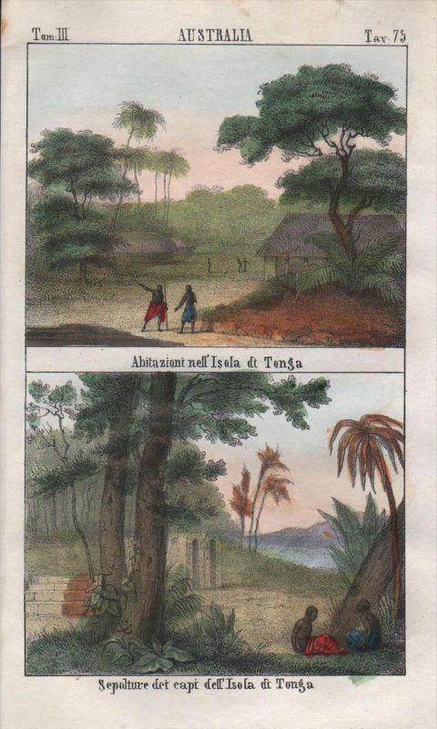 Tonga Island Polynesia Oceania Pacific Ocean Lithograph antique natives