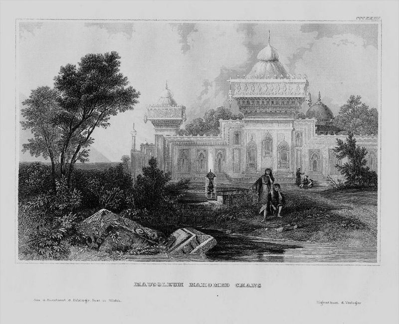 Mahomed Chan Mausoleum Grab Indien India Asien Asia engraving Stahlstich