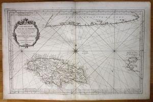 Jamaica island Greater Antilles nautical sea chart map Bellin antique print