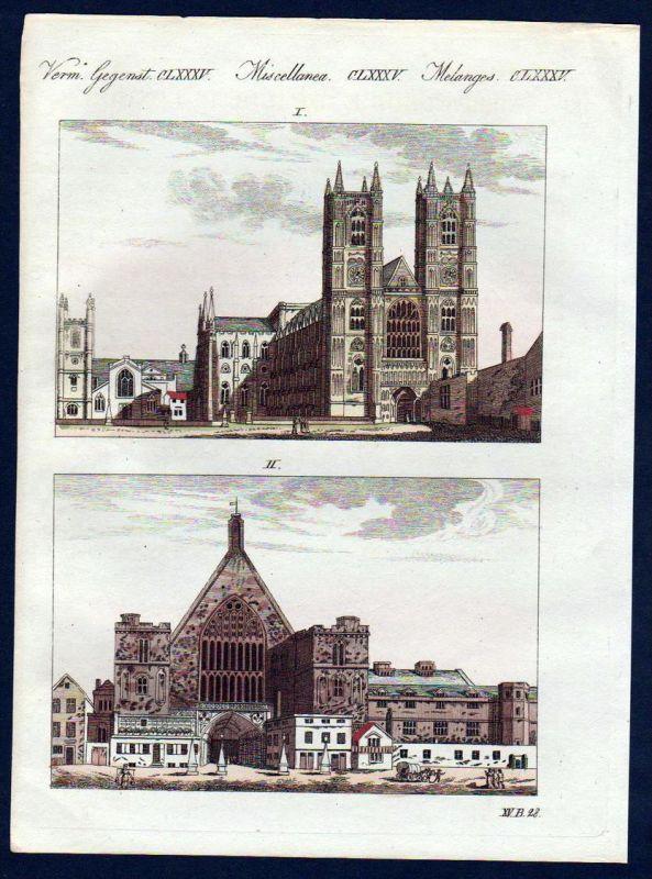 Westminster Abbey Abtei Kirche London England Bertuch Kupferstich antique print