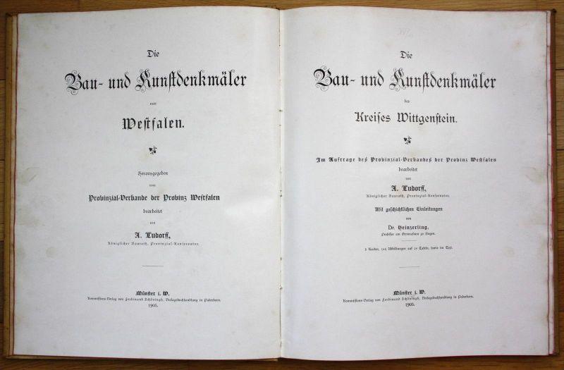 Ludorff Die Bau- und Kunstdenkmäler des Kreises Wittgenstein Westfalen