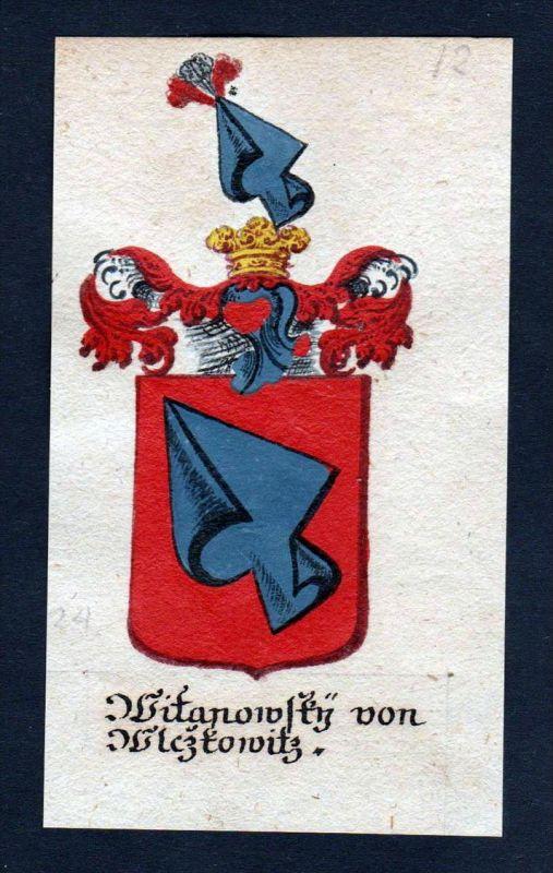 Witanowsky von Wlczkowitz Wlckowic Böhmen Wappen coat of arms Manuskript