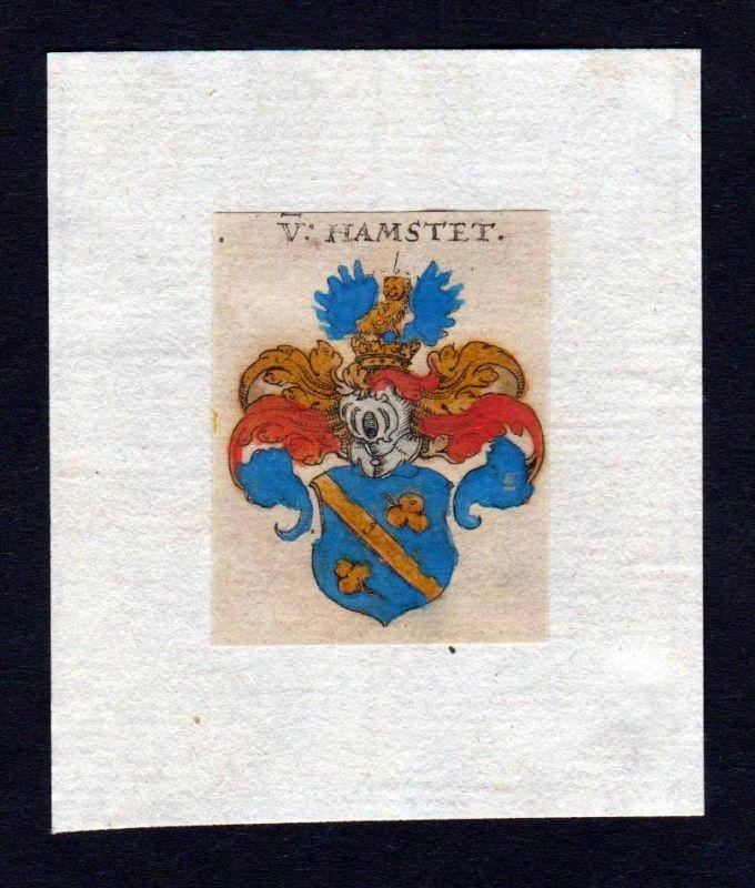 Hamstet 17. Jh Wappen coat of arms heraldry Heraldik Kupferstich
