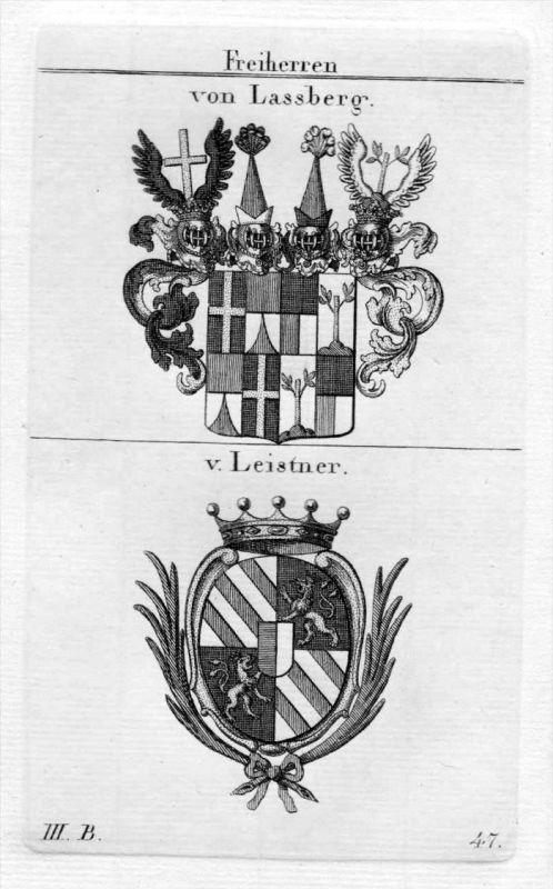 Lassberg Leistner - Wappen Adel coat of arms heraldry Heraldik Kupferstich