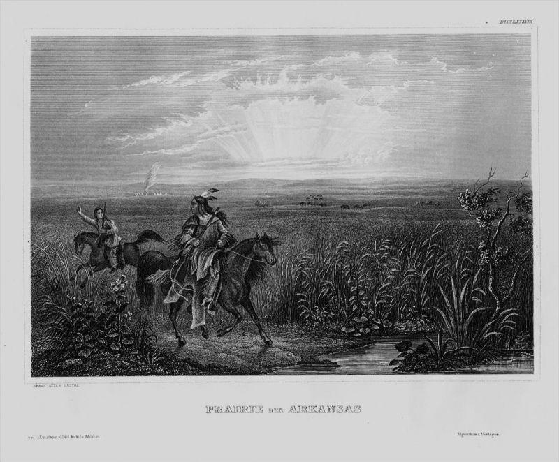 Arkansas Prärie Indianer Landschaft Amerika America Original Stahlstich