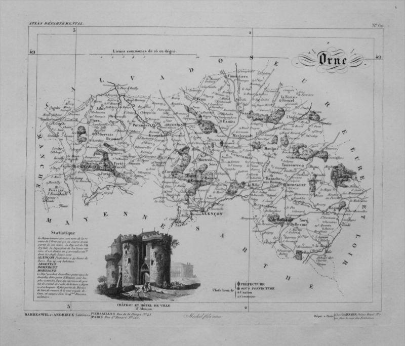 Departement Orne carte gravure Kupferstich Karte map France Frankreich