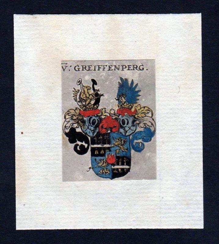 17. Jh Greiffenberg Wappen coat of arms heraldry Heraldik Kupferstich