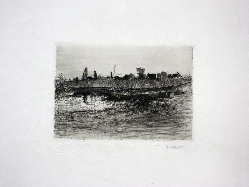Landschaft Original Radierung signiert etching signed