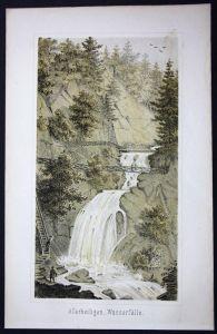 Allerheiligen Wasserfälle Schwarzwald Baden-Württemberg Lithographie