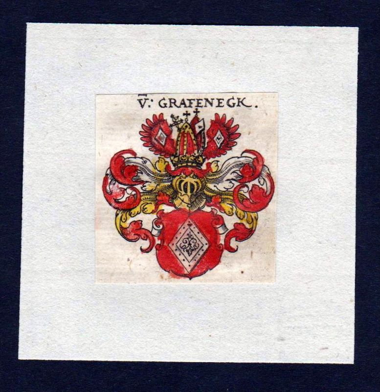 17. Jh von Grafeneck Wappen Adel coat of arms heraldry Heraldik Kupferstich