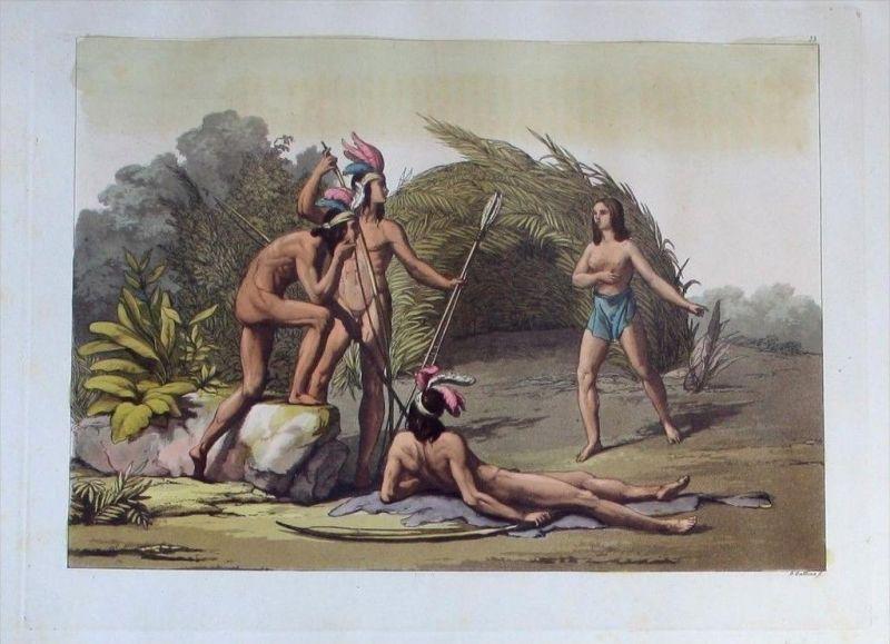 Guyana costumes Indians Indianer Aquatinta America aquatint antique print