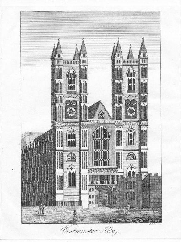 London Westminster-Abbey Original Kupferstich