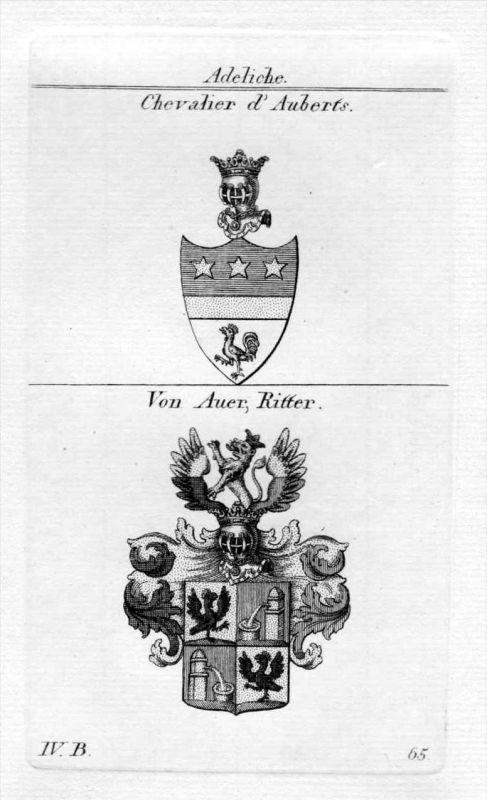 Aubert Auer - Wappen Adel coat of arms heraldry Heraldik Kupferstich