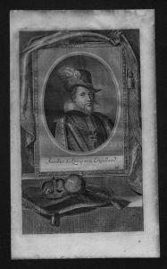 Jakob I James König von England König Schottland Kupferstich Portrait