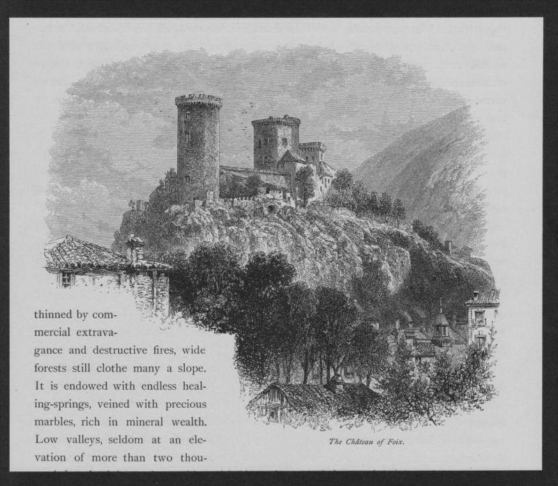 Foix Schloss Burg Ariege Frankreich France Original Holzstich woodcut