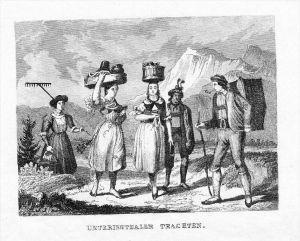 Unterinntaler Trachten Tracht Österreich Original Stahlstich