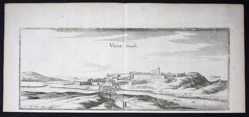 Villefranche Meuse Lorraine gravure estampe Kupferstich Merian engraving