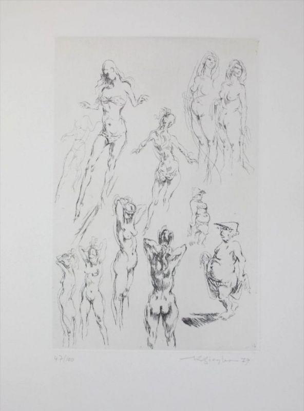 Richard Ziegler - Original Radierung signiert - Akt Aktstudien Pforzheim Berlin