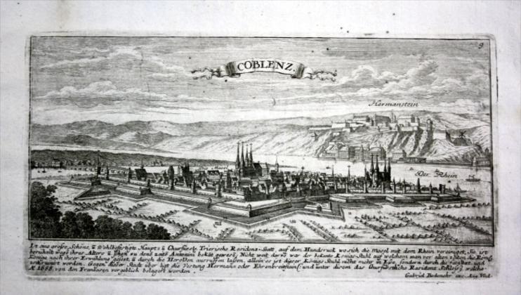 Koblenz / Rhein - Gesamtansicht - Kupferstich Bodenehr