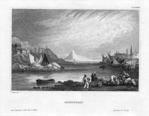 Mountsbay Cornwall Bucht Schiffe ships engraving Original Stahlstich