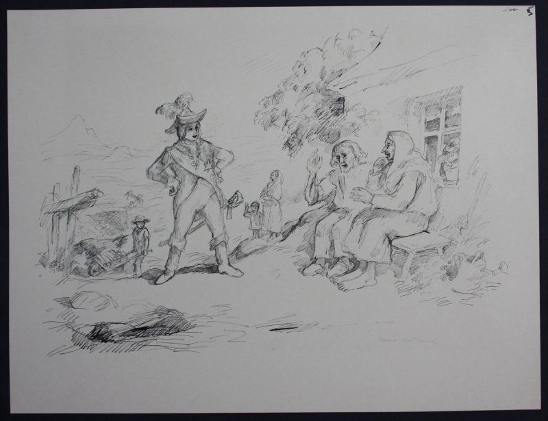 Otto Schubert Dresden Original Zeichnung signiert Märchen Ludwig Bechstein