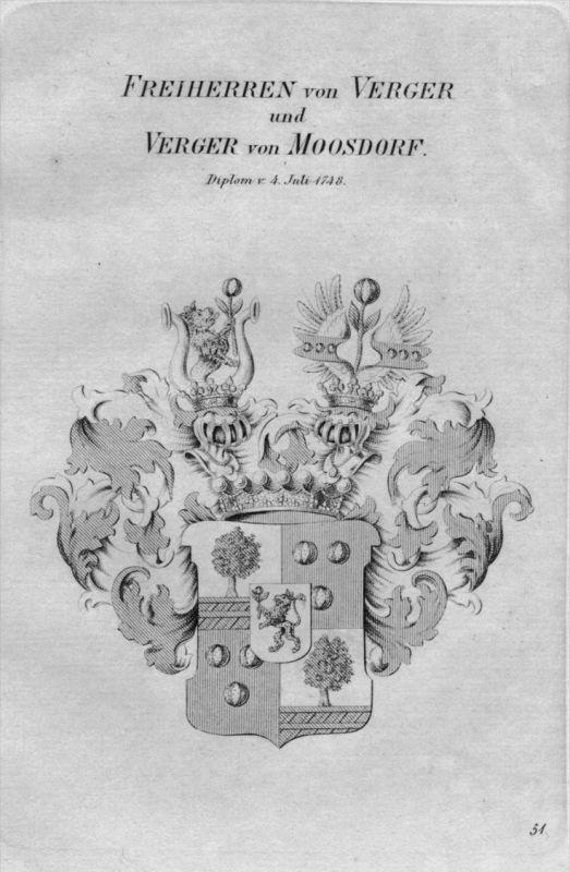 Verger Moosdorf Wappen Adel coat of arms heraldry Heraldik Kupferstich