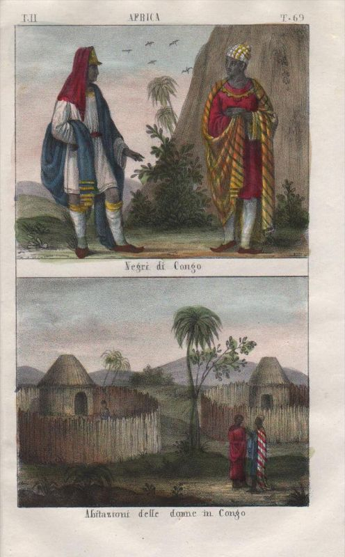 - Congo Kongo Negro Africa people costume Lithograph natives