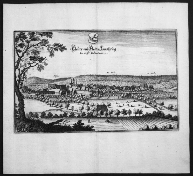 Lamspringe - Gesamtansicht - Kupferstich Merian