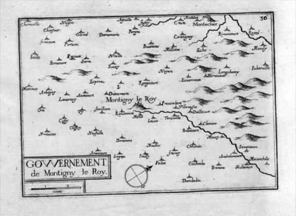 Montigny-le-Roi Haute-Marne France Tassin map carte Kupferstich gravure