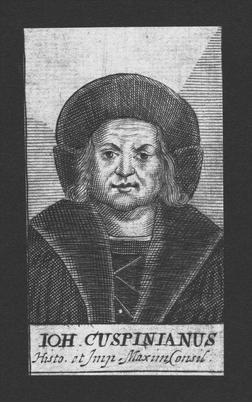 Johannes Cuspinian Humanist Dichter poet Wien Austria Kupferstich Portrait