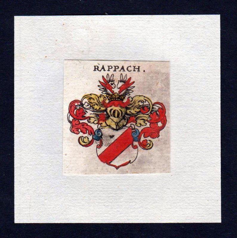 17. Jh Rappach Wappen Adel coat of arms heraldry Heraldik Kupferstich