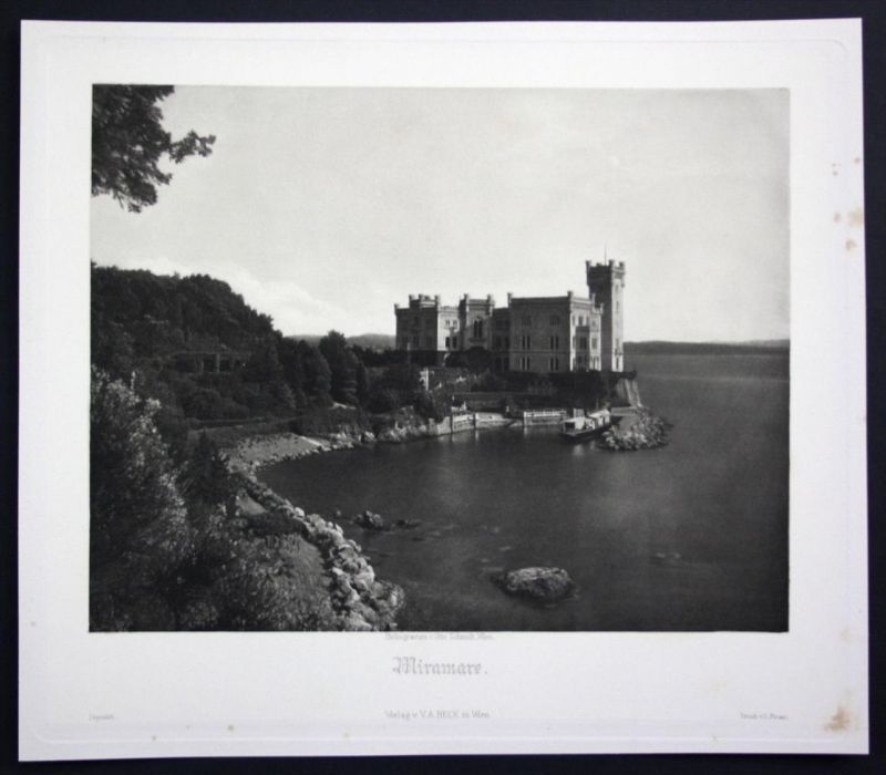 Schloss Miramare Castello Grignano Triest Italien Italy Heliogravure